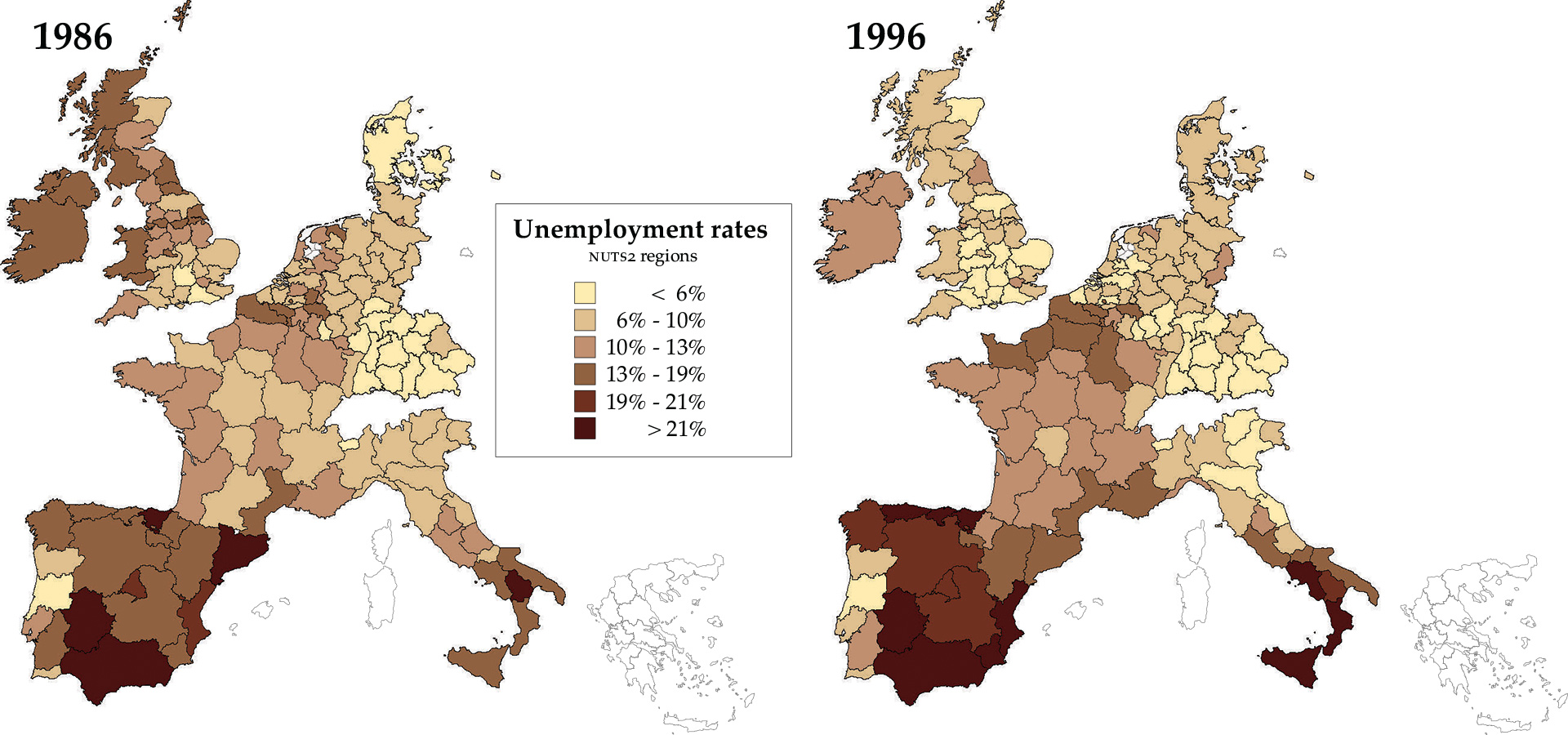 Map Unemployment clusters across Europeu0027s regions and